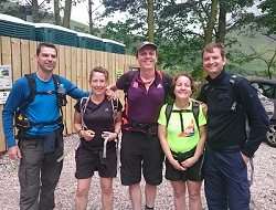 About to set off to climb Scafell L-R:- Matt Tyler, Jo Tyler, Jez Harmsworth, Hannah Cramp, Dean Watson.